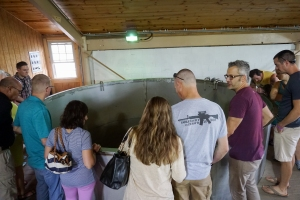 The group on the tour, checking out a step of the fermentation process.