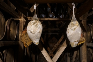 These are hams that will hang for a total of 2 years.  If it turns out that the Angel's Share permeates them into the best ham ever made on earth, more will likely be hung in between barrels of bourbon in the warehouses.