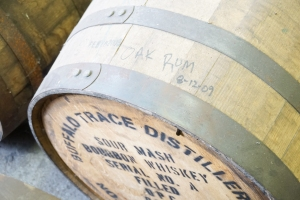 A barrel of rum aging in a retired barrel from Buffalo Trace.
