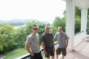 The Men, on the porch of the historic Pogue home, overlooking the Ohio River.